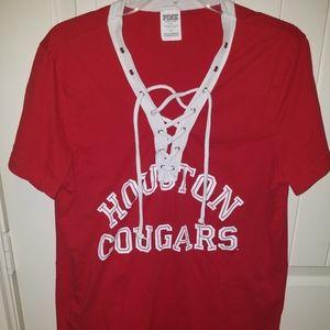 U OF H PINK houston Cougars campus tee L